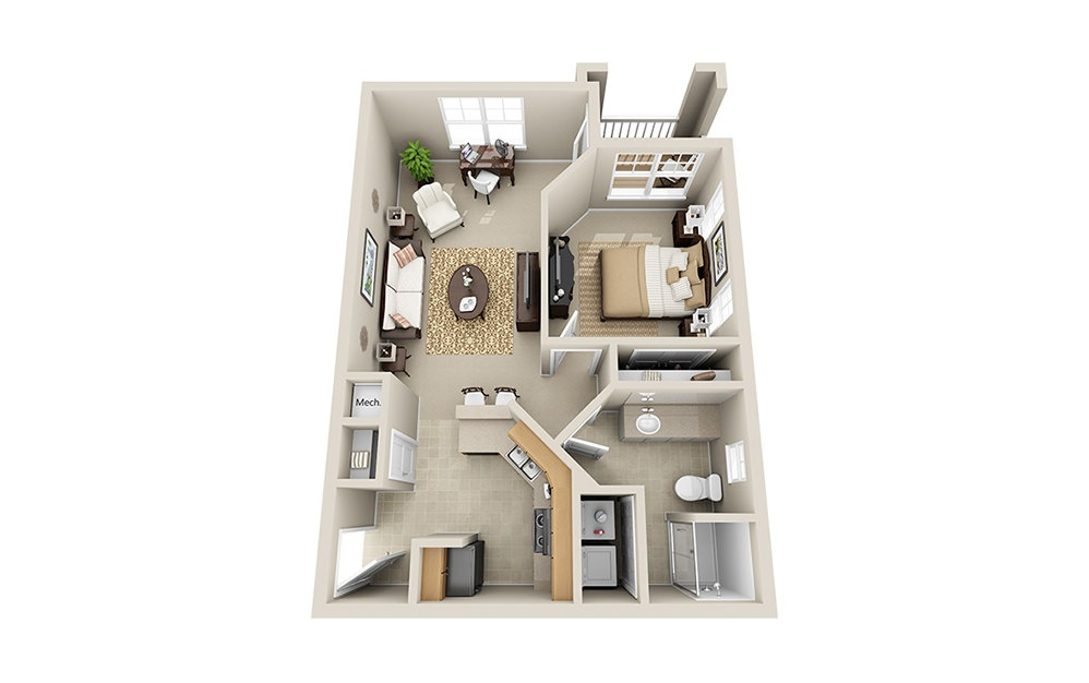 The Apex A5 - 1 bedroom floorplan layout with 1 bath and 693 square feet.