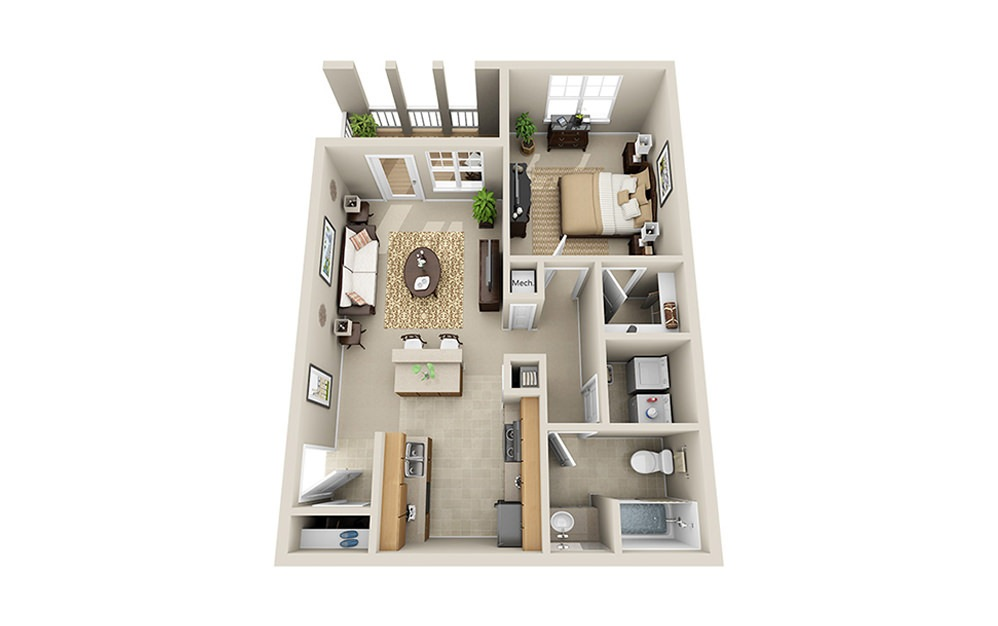 The Crown A6 - 1 bedroom floorplan layout with 1 bath and 805 square feet.