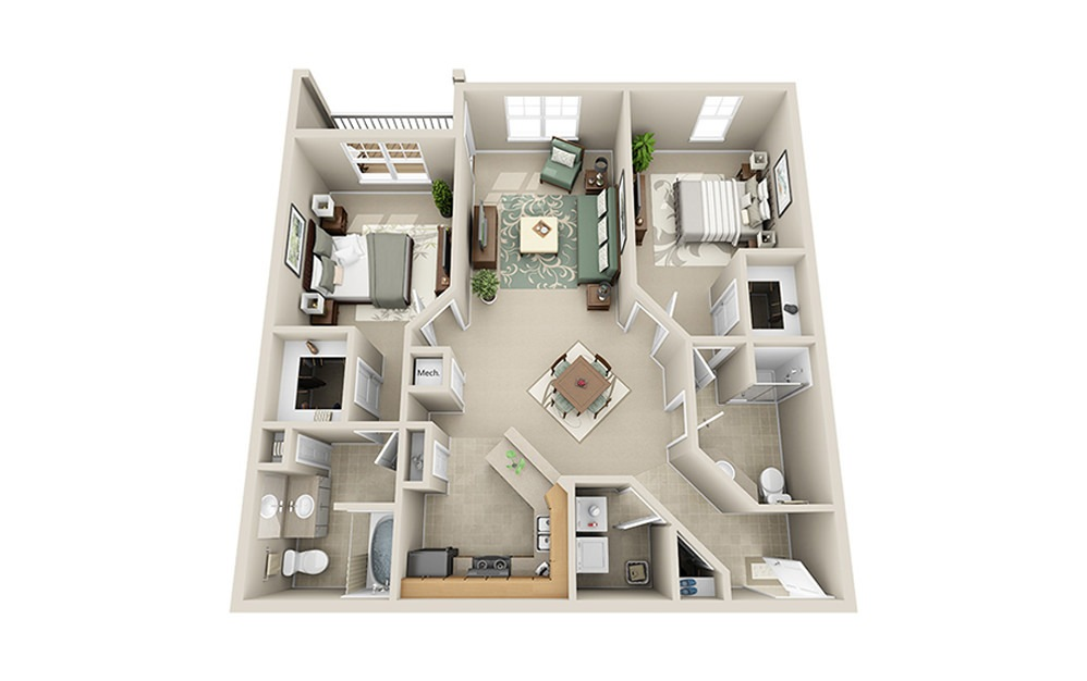 The Peak B5 - 2 bedroom floorplan layout with 2 baths and 1136 square feet.