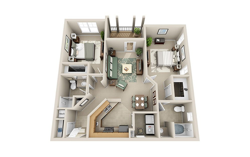 The Summit B4 - 2 bedroom floorplan layout with 2 baths and 1040 square feet.